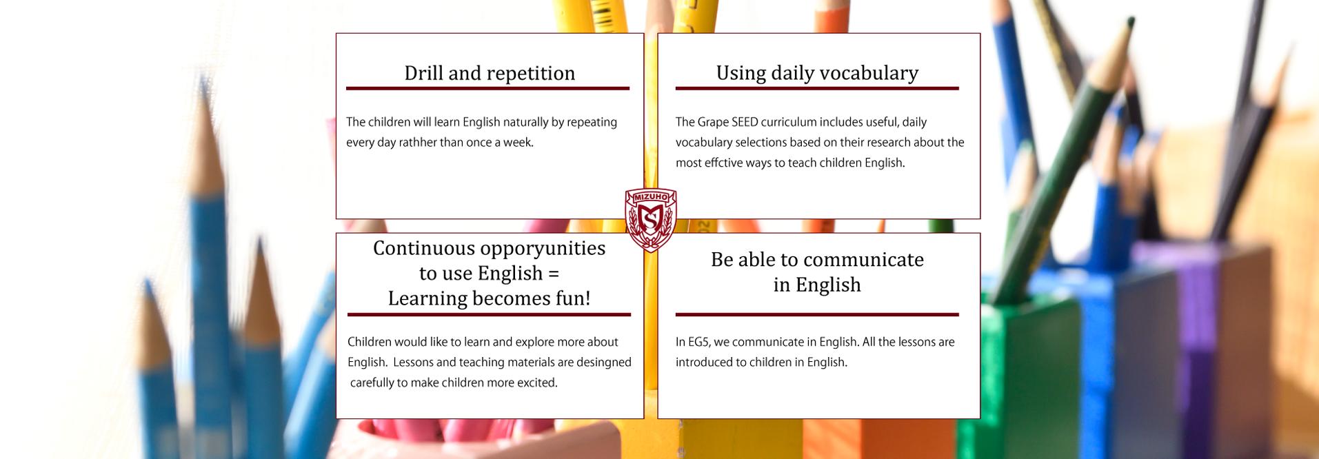 毎日繰り返す・単語は日常から・継続=無理がなく、楽しい!・英語で会話できる