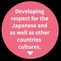 日本文化及び海外 の文化を 尊重する 気持ちを育てる。