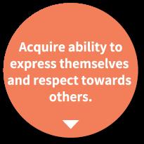 他者を尊重する 気持ちと自己を表現 する力をつける。